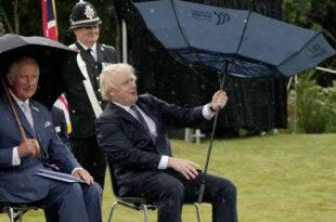 Prince Charles keeps His Cool When Boris Johnson Has Funny Umbrella Situation