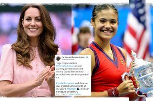 Duchess Kate And The Queen Share Heartfelt Congratulations To US Open Winner Emma Raducanu